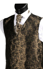 Mens and Boys brown floral wedding waistcoats