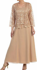 New Long Sleeve Floral Lace Jacket Sleeveless Long Chiffon Skirt Dress Suit Gold