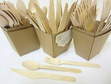 24 PACK WOODEN FORKS SPOONS KNIVES DISPOSABLE WOODEN CUTLERY PACK