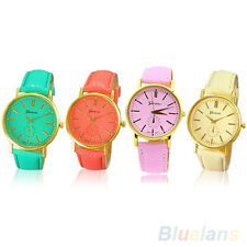 Women New Beautiful Geneva Roman Numeral Faux Leather Quartz Analog Wrist Watch