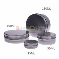 15 50 100 150 ML Empty Nail Art Cream Lip Balm Tin Container With Screw Thread