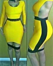 Yellow and Black Cutout Back Bodycon Dress with Slit LC6413 On sale Sexy Dress