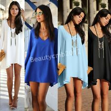 Sexy Women Summer Casual Party Evening Cocktail Short Mini Shift Loose Dress S01