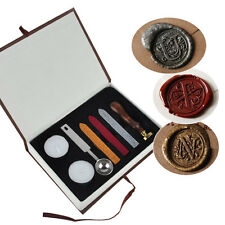 Alphabet Initial Letter Badge Vintage Wax Seal Stamp w/Wax Kit Set Letter A-Z
