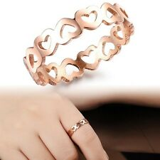 Fashion Loving Heart Rose Gold plated Titanium Steel Ring+ Jewelery Gift-Bag
