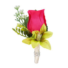 Pick Ribbon Color*Hot Pink Rose Orchid Greenery*Wedding Prom silk flower