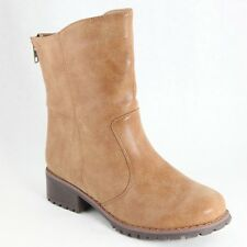 Women's Tan Outlaw Motorcyle Boot Zipper Lug Sole Distressed Faux Leather Look