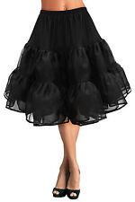 "27"" Long Vintage Full Layered Organza 50s 60s Prom Dress Petticoat Skirt Slip"