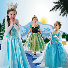 Frozen princess Elsa and Anna costumes cosplay girls dresses skirt