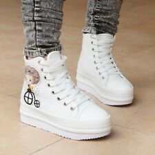 Women Sweet High Top Cartoon Decor Lace Up High Platform Canvas Sneakers Shoes