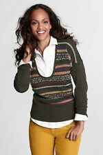 NWT Lands' End Women's Long Sleeve Fair Isle Drop Shoulder Merino Sweater