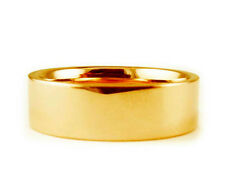 7mm 18K YELLOW GOLD FLAT PLAIN SHINY COMFORT FIT WEDDING BAND RING