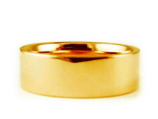 8mm 14K YELLOW GOLD FLAT PLAIN SHINY COMFORT FIT WEDDING BAND RING
