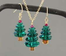 Emerald Green & Ruby Red Crystal Christmas tree 14k gold necklace & earring set