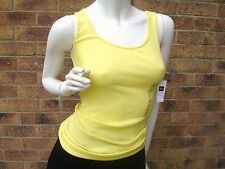 GAP WOMENS RIBBED STRETCH VEST TOP COTTON MIX YELLOW UK M -L