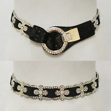 LEATHERETTE CIRCLE Rhinestone BLING Elastic stretch Waist Cinch Metal Belt black