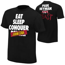Brock Lesnar Paul Heyman EAT SLEEP CONQUER JOHN CENA WWE Authentic T-Shirt NEW