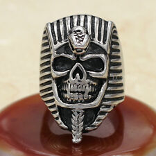 Men's Punk Gothic Pharaoh King Tut Pyramid Mummy Skull 316L Stainless Steel Ring