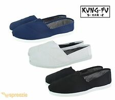 Mens Canvas Shoes Slip On Kung Fu Casual Colors Kicks House Loafers Karate Ninja