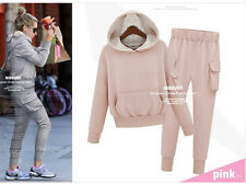 Women Casual Sportswear Tracksuit Hooded Top + Pants Suit Two Piece Clothing Set