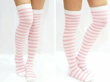 Womens Wheres Wally Style Over Knee White Striped Long Socks Tights Stockings
