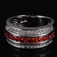 Sz 7-13 Jewelry Mens Semi-round Red Garnet 10KT White Gold Filled Band Ring