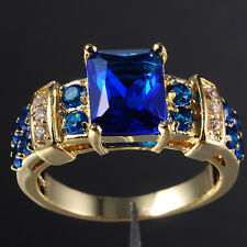 Size 8-12 Brand Jewelry 10KT Yellow Gold Filled 6ct Blue Tanzanite Ring Gift-HOT
