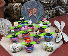 Solar Dancing Bugs, Flowers with Words on Pot Home Garden Assorted All Colors