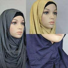 Slip On Instant Amira Style Cotton Jersey on-the-go Hijab Shawl Scarf 60x180cm