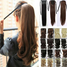 UK Top Grade Wrap On Clip In Pony Tail Hair Extensions Straight Curly Hair Tf142
