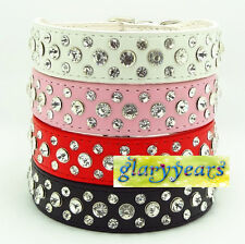 New 6 Colors Dog Cat  Collars Rhinestones Diamante Leather Buckle Crystal Bling