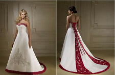 Strapless Red and White Ball Gown Bridal Gowns Wedding Dresses Custom Made