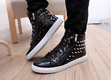 New Mens Fashion Spike Punk Studded Rivet Shoes Zip Sneakers Ankle Boots shoes