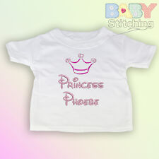 Crown, Princess & Name - Personalised Embroidered Baby T-Shirt - Girl Gift