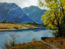 HD Print Oil painting Picture Landscapes Lake boat on canvas L022