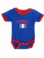 France Baby Bodysuit 100% Cotton Soccer Country Flag T-Shirt All Seasons