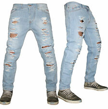 Jeans uomo tutto Strappato DENIM cielo Made in Italy slim  42 44 46 48 50 52