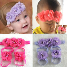 New Colorful Foot Flower Barefoot Sandals + Headband Set for Baby Infants Girls