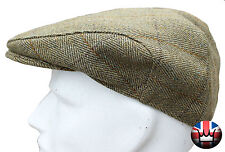 WWK Mens Derby Tweed Flat Cap Country Walking Casual Green Teflon Coated S-XXL