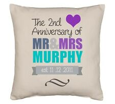 Personalised Cotton Cushion 45cm x 45cm 2nd Anniversary / Wedding gift any names