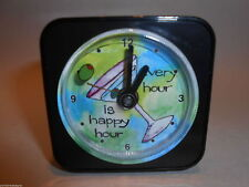 Humorous Travel Alarm Clock with Floating Second Hand from Paper Scissors Rock