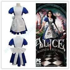 Alice Madness Returns Alice unfrom cosplay party costume dress S-XXl