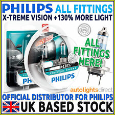 PHILIPS XTREME VISION +130% CAR HEADLIGHT BULBS H1 H4 H7 FITTINGS (SINGLE/TWIN)