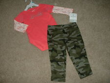 NEW Baby Girls Carters Lovable Camo Outfit Set Size 3 6 9 Months mos Clothes NWT