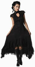 Sheer Flowing Romantic Victorian Gothic Gauzy Dress Steampunk Black Goth Keyhole