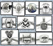 SPORTS BALL Silver BEADS for Bracelet Necklace Boy Girl Teen Team Coach Mom Gift