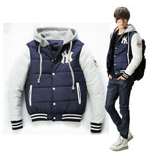 Winter Personalized Hooded Color Patchwork Imitation silk coat men's clothing