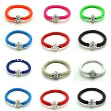 Shamballa Bracelet Czech Crystal Ball Magnetic Bracelet Bangle Leather Wristband