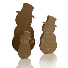 Free Standing MDF Snowman Shape Christmas Decorations Crafts 200mm, 150mm ,100mm