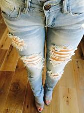 MACHINE JEANS DESTROYED RIPPED DISTRESSED WOMEN SKINNY SLIM LIGHT BLUE DENIM